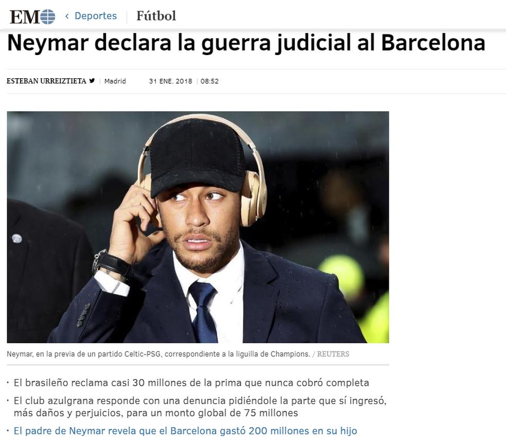 Neymar no El Mundo (Foto: Reprodução / El Mundo)
