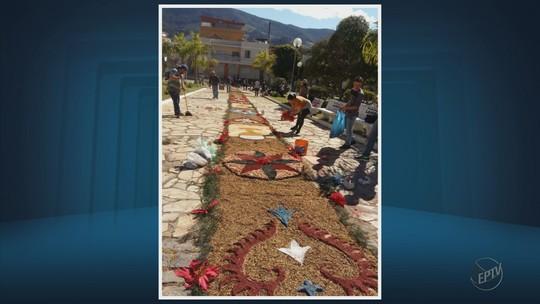 Tapetes de Corpus Christi são feitos com malhas em Jacutinga; veja fotos da celebração no Sul de MG