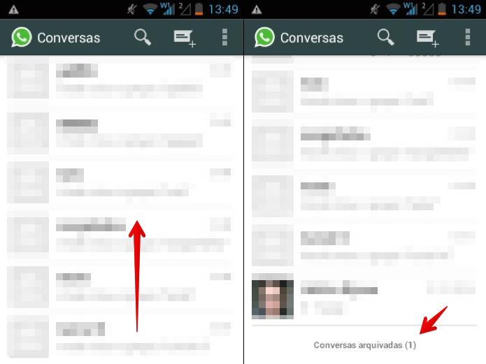 Acessando conversas arquivadas no Android (Foto: Reprodução/Helito Bijora)