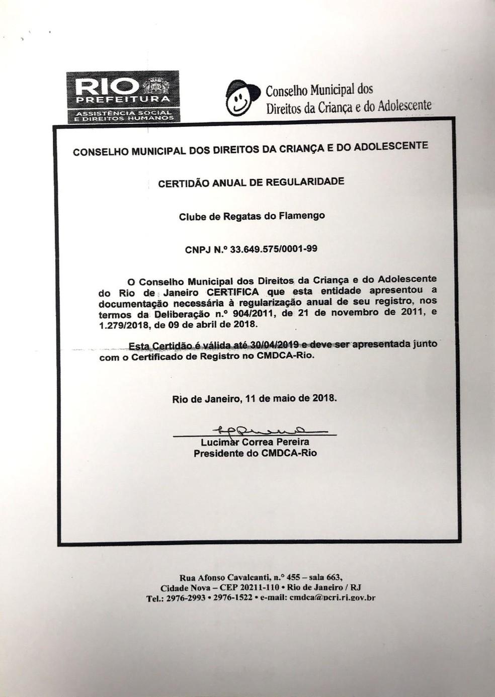Registro Conselho Municipal dos Direitos da Criança e do Adolescente, Flamengo — Foto: Divulgação / Flamengo
