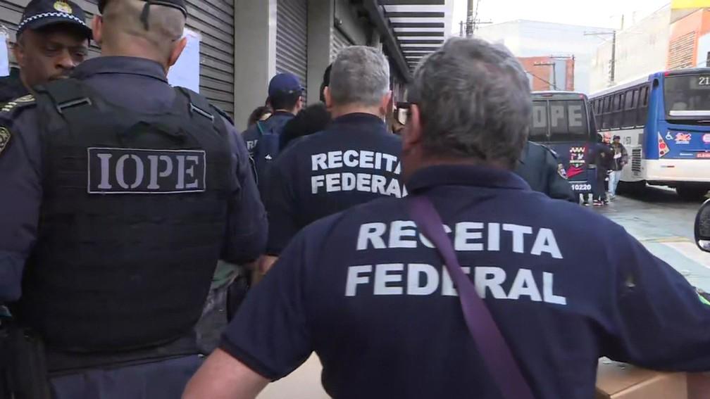 Receita Federal faz operação no centro de São Paulo nesta segunda-feira (2) — Foto: Reprodução/TV Globo