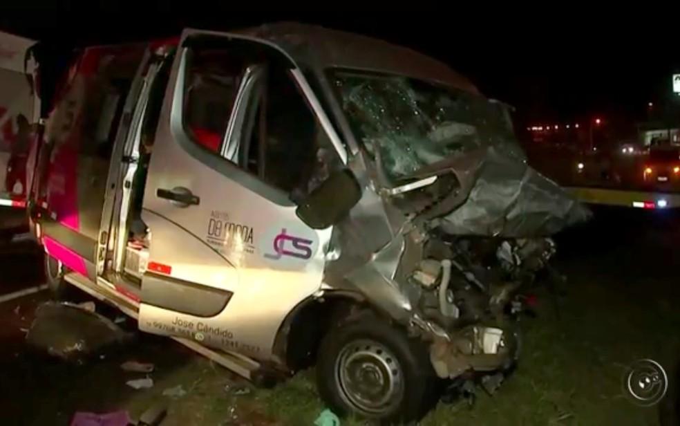 Médica morre e passageiros de van ficam feridos após acidente em rodovia de Catanduva  (Foto: Reprodução/TV Tem)