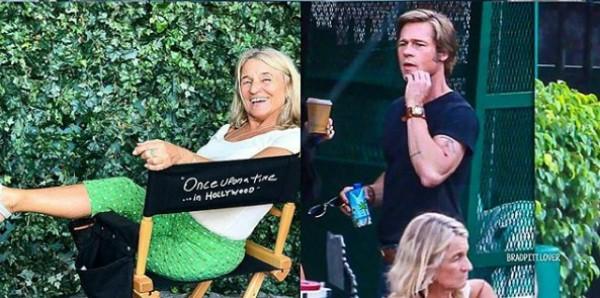 Mãe de Leonardo DiCaprio usa cadeira do diretor e não percebe a presença de Brad Pitt (Foto: Reprodução Instagram)