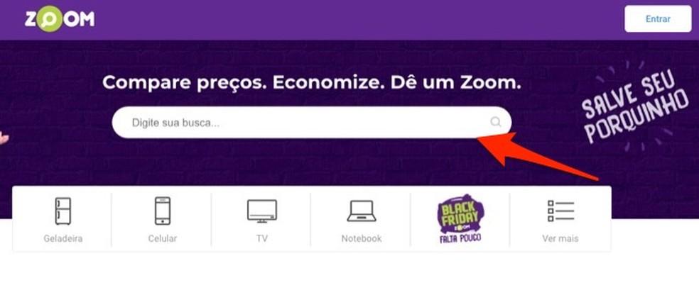 Ação para iniciar a ferramenta de busca para anúncios no site Zoom — Foto: Reprodução/Marvin Costa