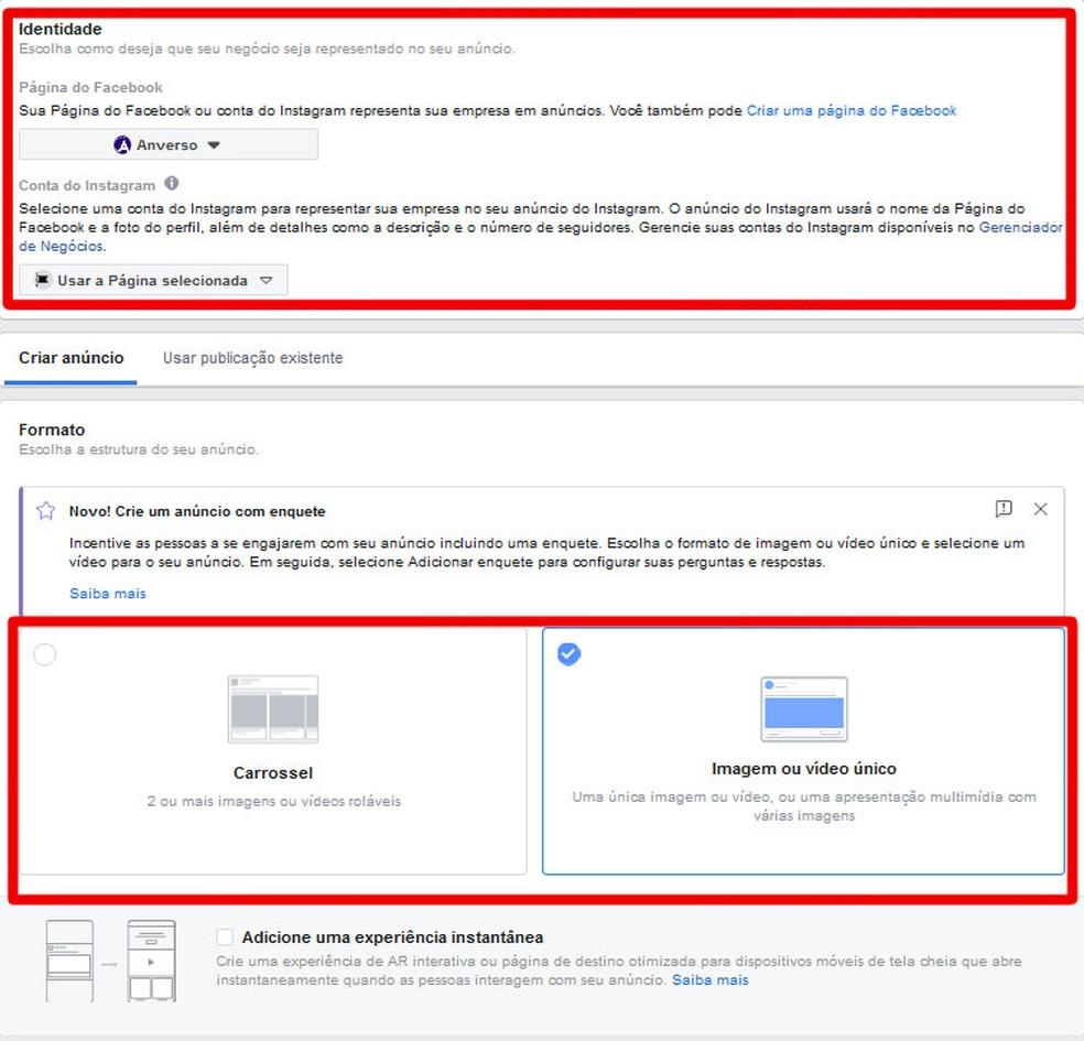 Quase acabando: defina o formato da publicação e a que conta ou página ela será vinculada no instagram — Foto: Reprodução/Thiago Siqueira