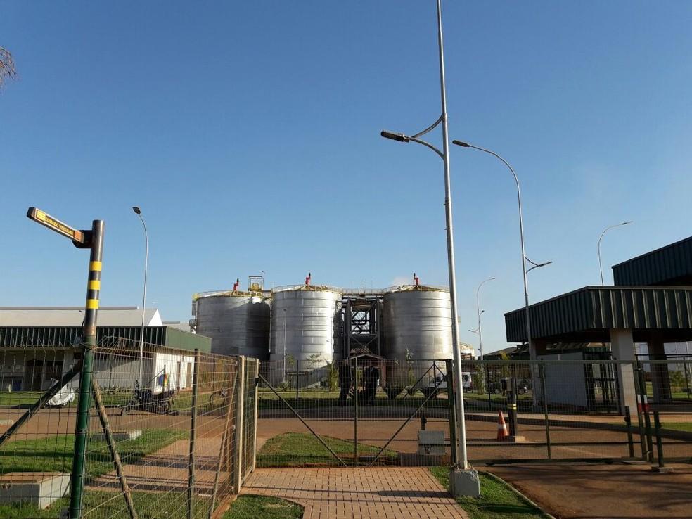 Usina de produção de etanol a partir do milho, em Lucas do Rio Verde, está operando parcialmente (Foto: André Souza/G1)
