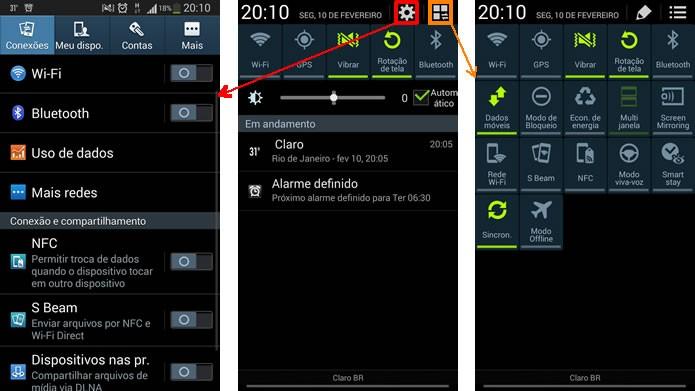 A barra de notificações do Android 4.3 manteve o acesso para as configurações do aparelho e incluiu um atalho para as suas configurações (