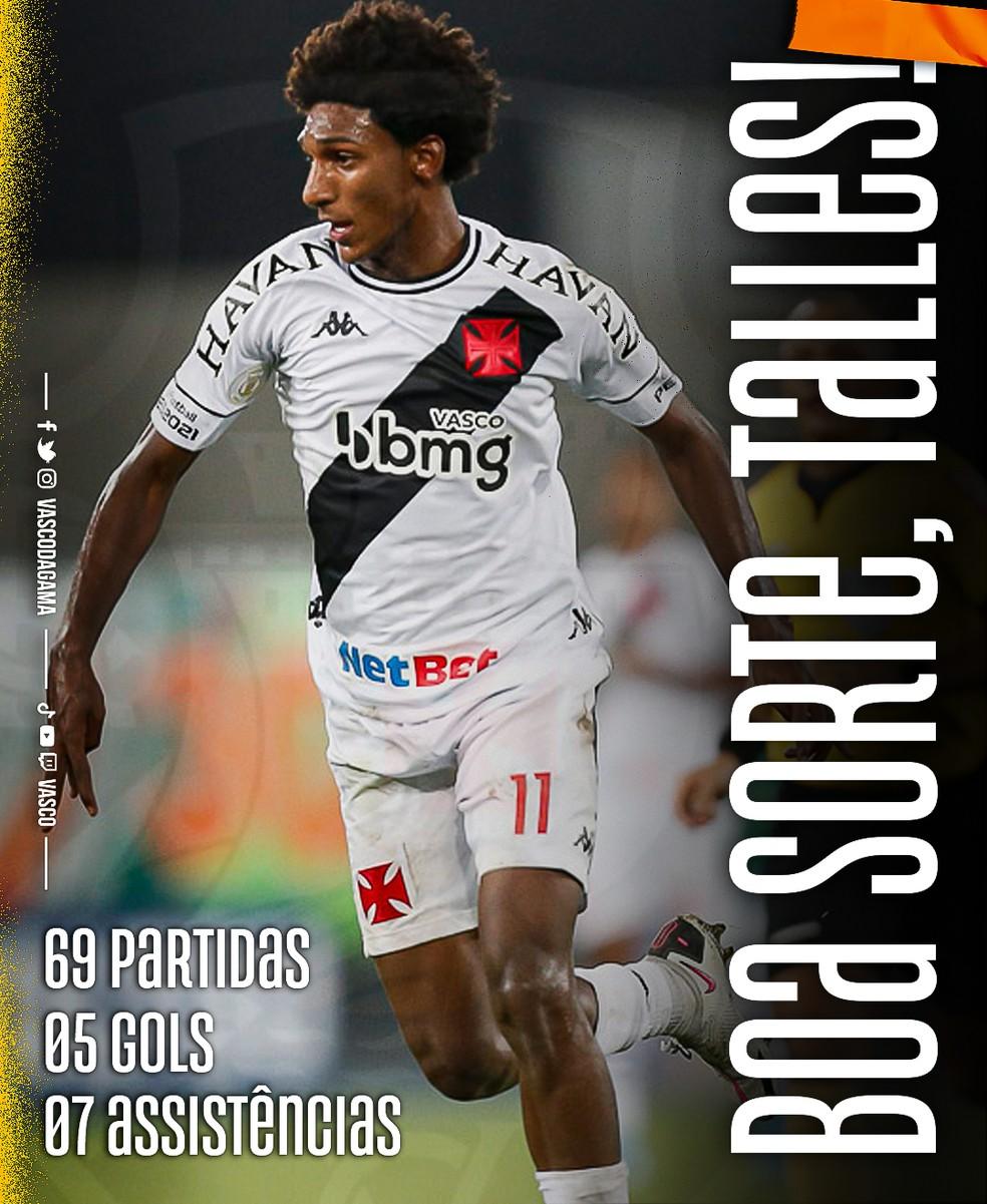 Vasco deseja boa sorte a Talles — Foto: Divulgação