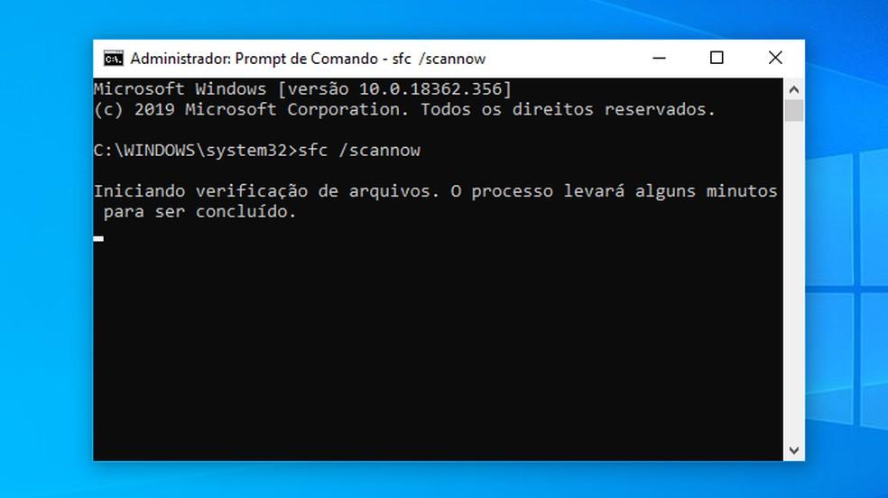 Verifique o sistema de arquivos do Windows — Foto: Reprodução/Paulo Alves