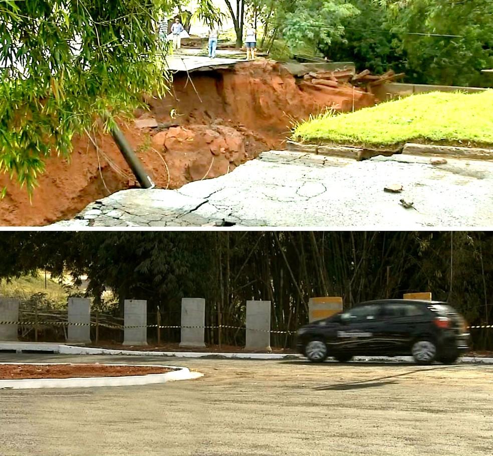 Depois de mais de sete meses, cratera aberta pela chuva (acima) foi fechada e o tráfego na Avenida Otto Ribeiro foi restabelecido (Foto: Reprodução / TV TEM)