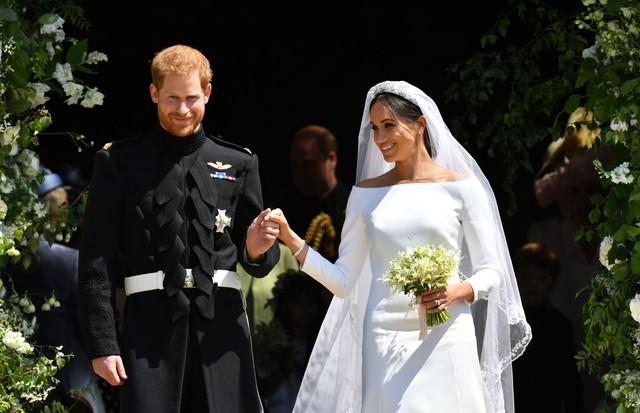 Meghan Markle e Príncipe Harry no dia de seu casamento, no Castelo de Windsor (Foto: Getty Images)