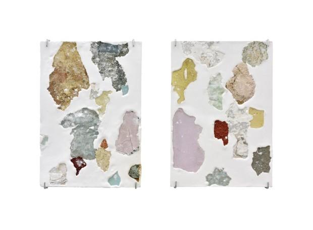 Continente, série, 2018. Fragmentos de parede e gesso, 30 x 42 cm cada peça (Foto: Divulgação)
