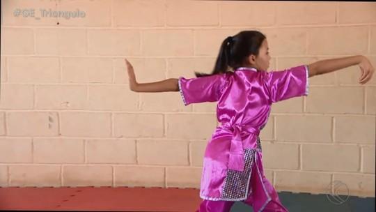 Menina de 11 anos de Uberlândia brilha no kung fu