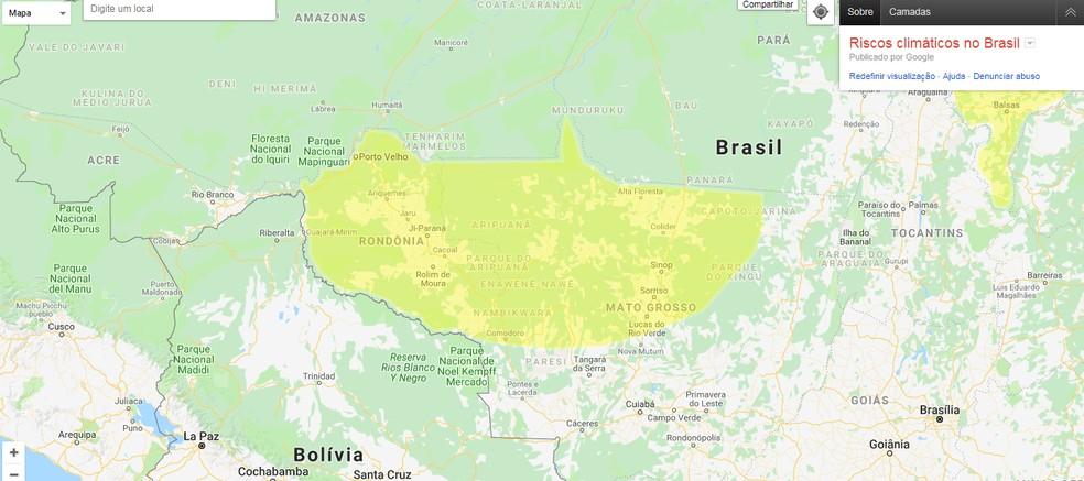 Inmet emite alerta de potencial perigo de chuvas em Rondônia e Mato Grosso nesta terça-feira (25).  — Foto: Reprodução/Google