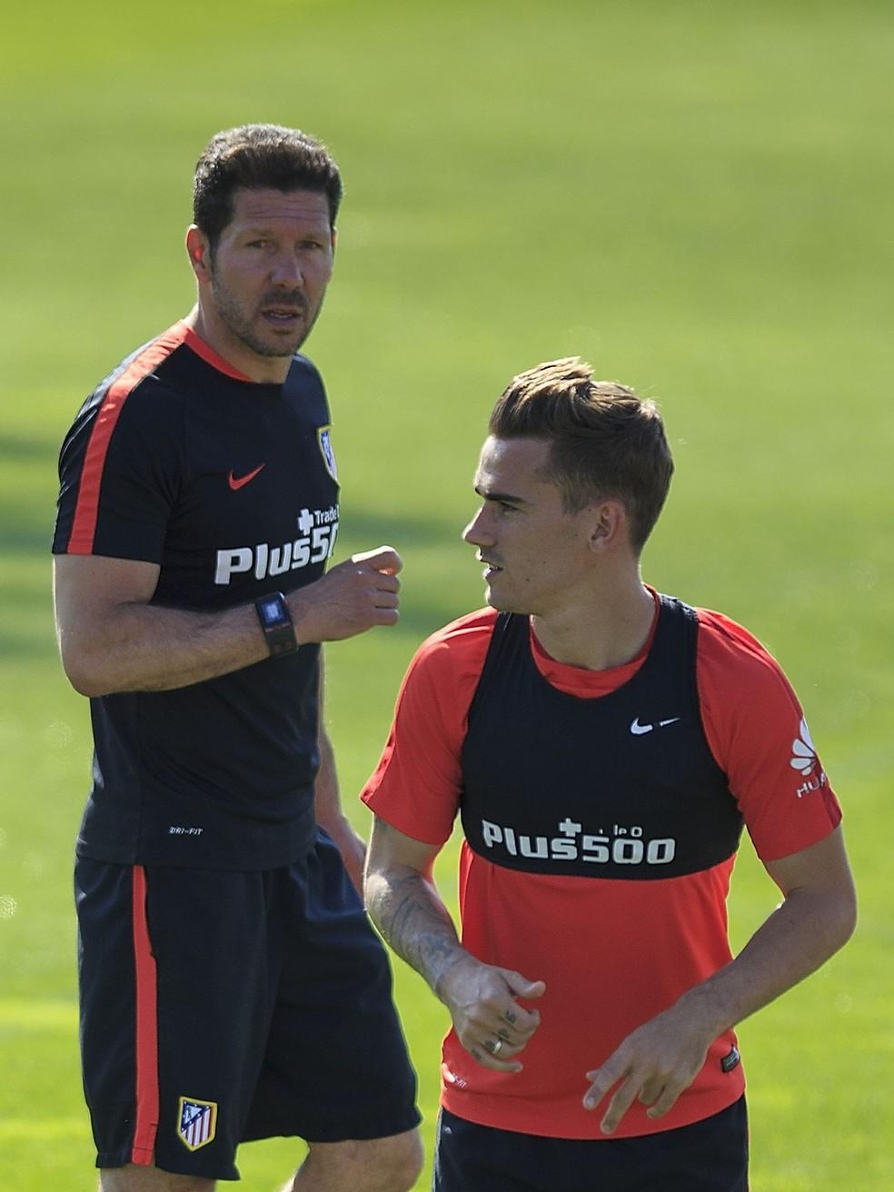 Griezmann e Simeone juntos no Atleti (Foto: Gonzalo Arroyo Moreno / Stringer)