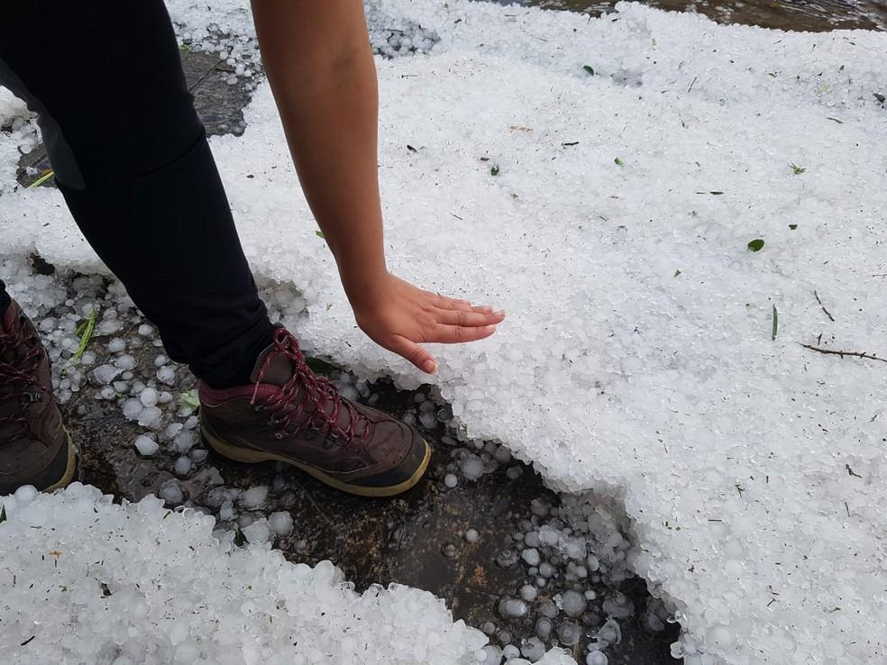 Moradora do Jardim Tannus registra altura de gelo na rua — Foto: Arquivo Pessoal/Tatiana Nakamura