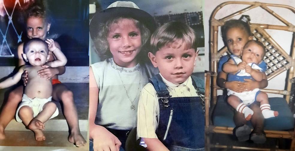 Renê com a irmã Stephanie durante a infância. — Foto: Arquivo pessoal/Stephanie Von Brown