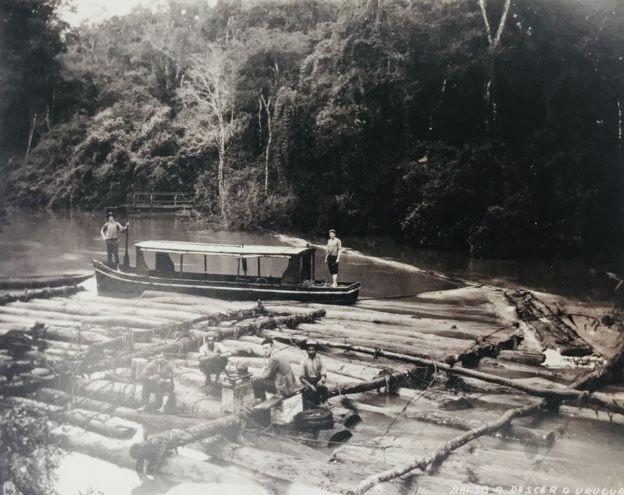 Balsas usadas para escoar madeira no rio Uruguai, na região Sul; mesma técnica é usada atualmente para transportar madeira pelos rios amazônicos. (Foto: Ricardo Cardim, via BBC)