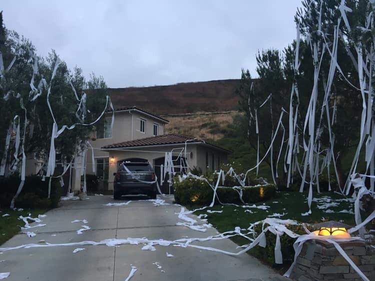 A casa e o quintal foram cobertos por papel higiênico (Foto: Reprodução Facebook)
