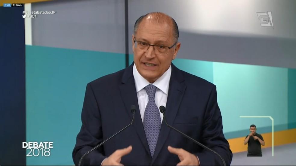 Geraldo Alckmin (PSDB) no debate da TV Gazeta (Foto: Reprodução/TV Gazeta)