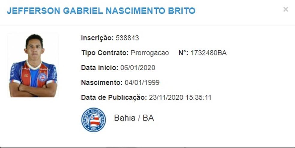 Fessin prorrogou vínculo com o Bahia — Foto: Reprodução / CBF