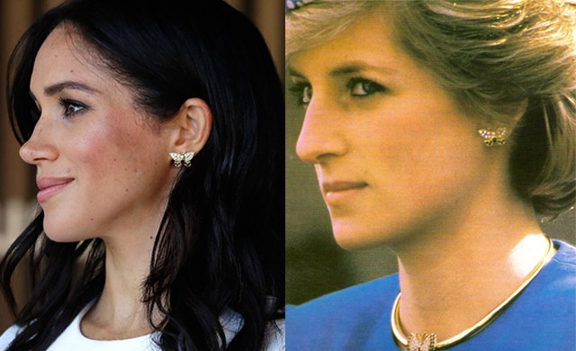 Meghan Markle usa o brinco de borboletas que pertenceu a Lady Diana (Foto: Getty Images/ Twitter The Royal Watcher)