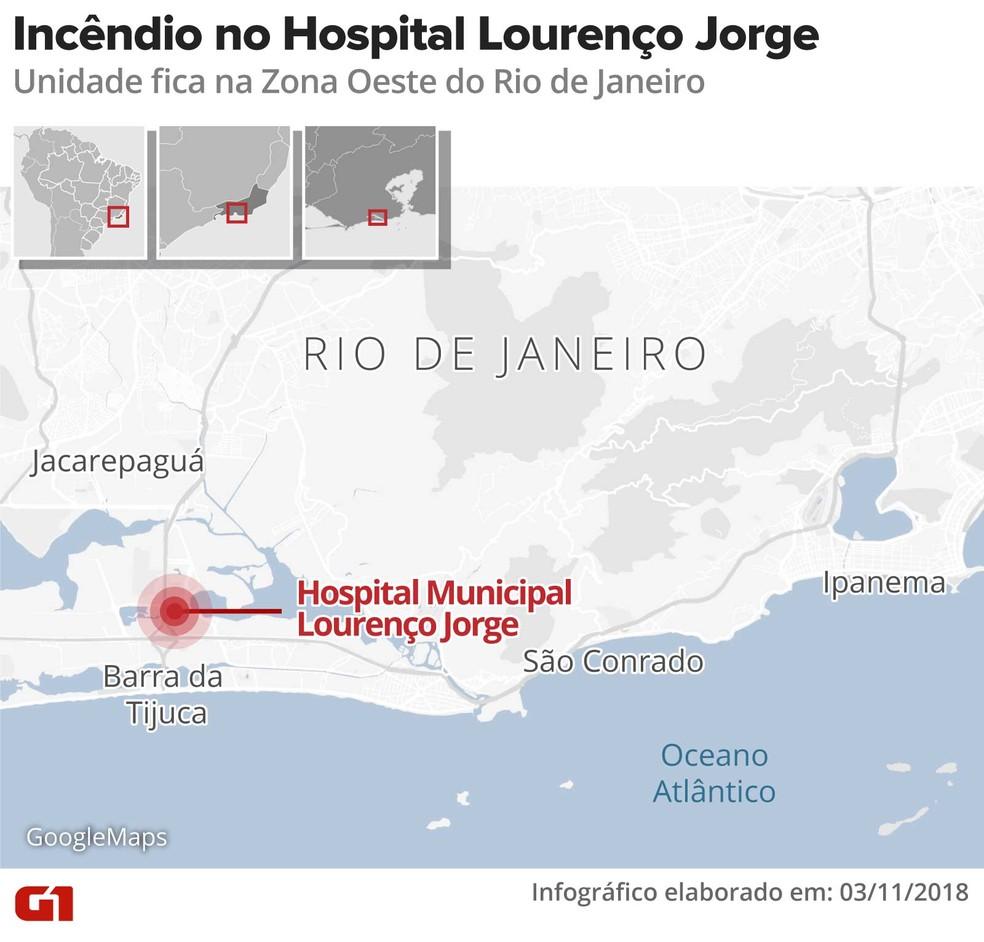 Mapa mostra onde fica o hospital — Foto: Infografia: Alexandre Mauro/G1