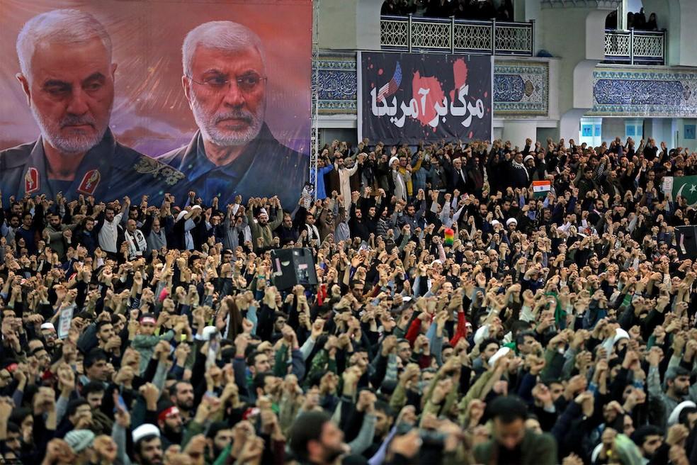 Imagem do público durante discurso de Ali Khamenei, em 17 de janeiro de 2020 — Foto: Site oficial Khamenei/Divulgação/ via Reuters