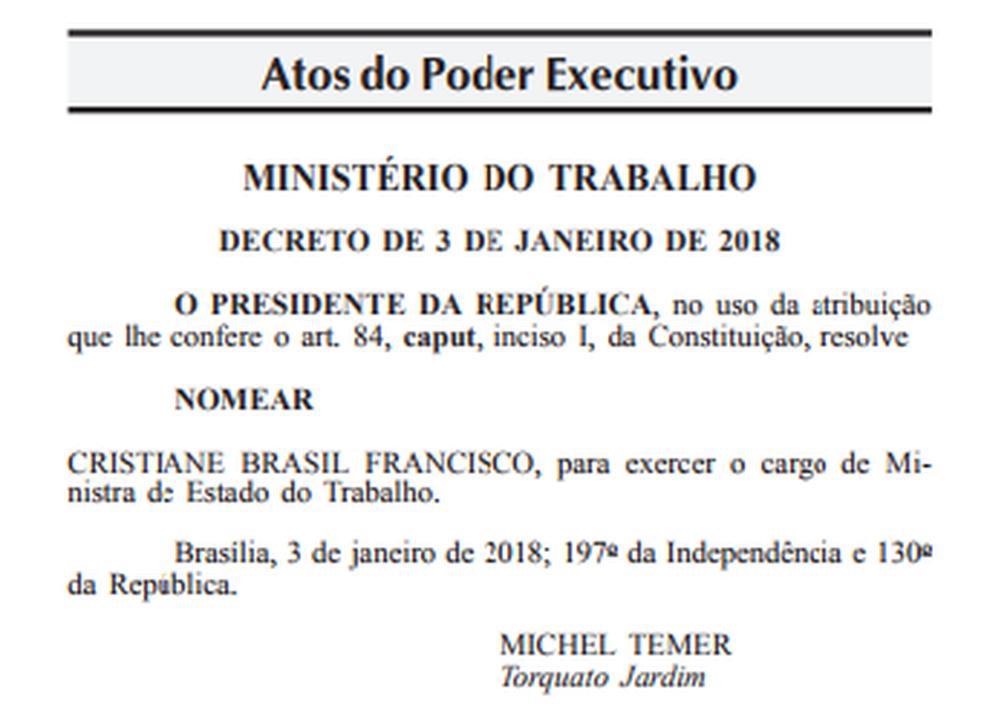 Nomeação de Cristiane Brasil foi publicada no 'Diário Oficial da União' (Foto: Reprodução)