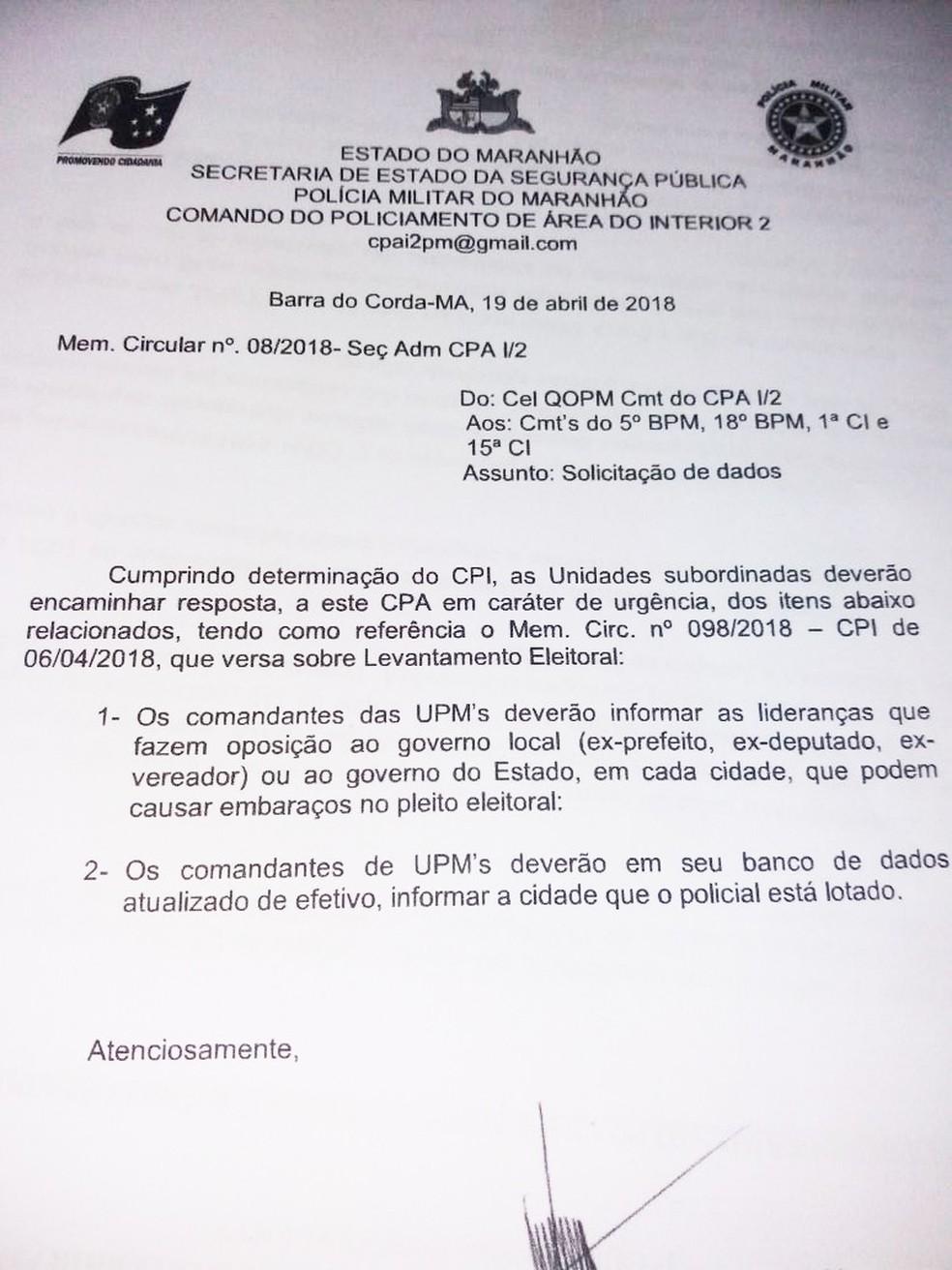 Ofício da Polícia Militar que motivou investigação interna na corporação no Maranhão (Foto: Divulgação / Polícia Militar)