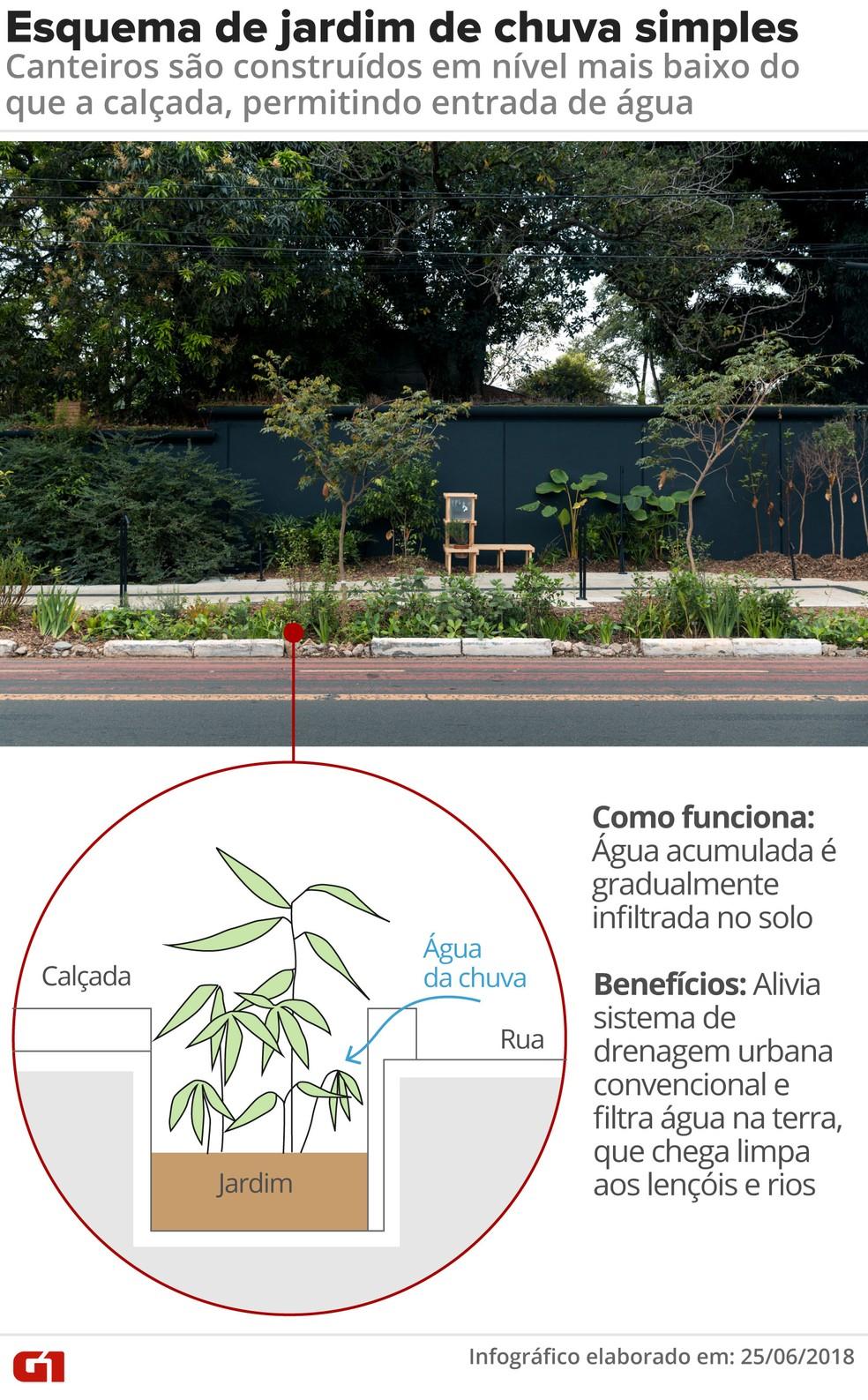 Esquema simples de jardim de chuva (Foto: Arte/G1)
