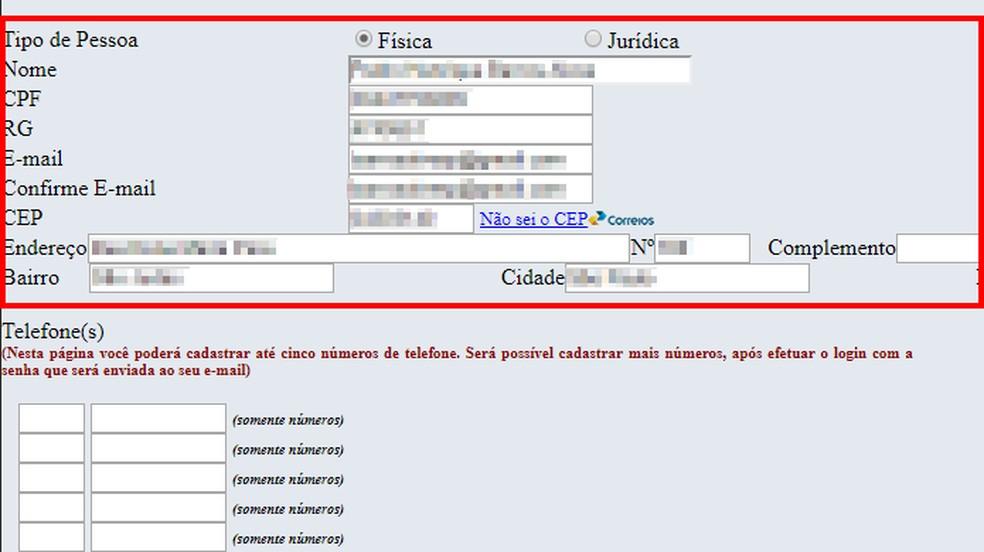Preencha o formulário com dados pessoais do titular da linha — Foto: Reprodução/Paulo Alves