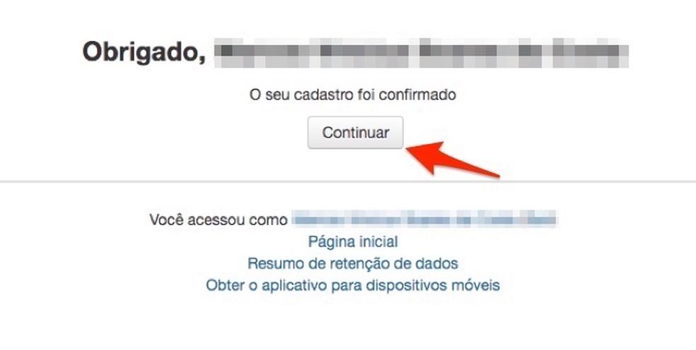 Tela para confirmar a ativação de cadastro para novo usuário no site de cursos online da Câmara de Deputados Federais — Foto: Reprodução/Marvin Costa