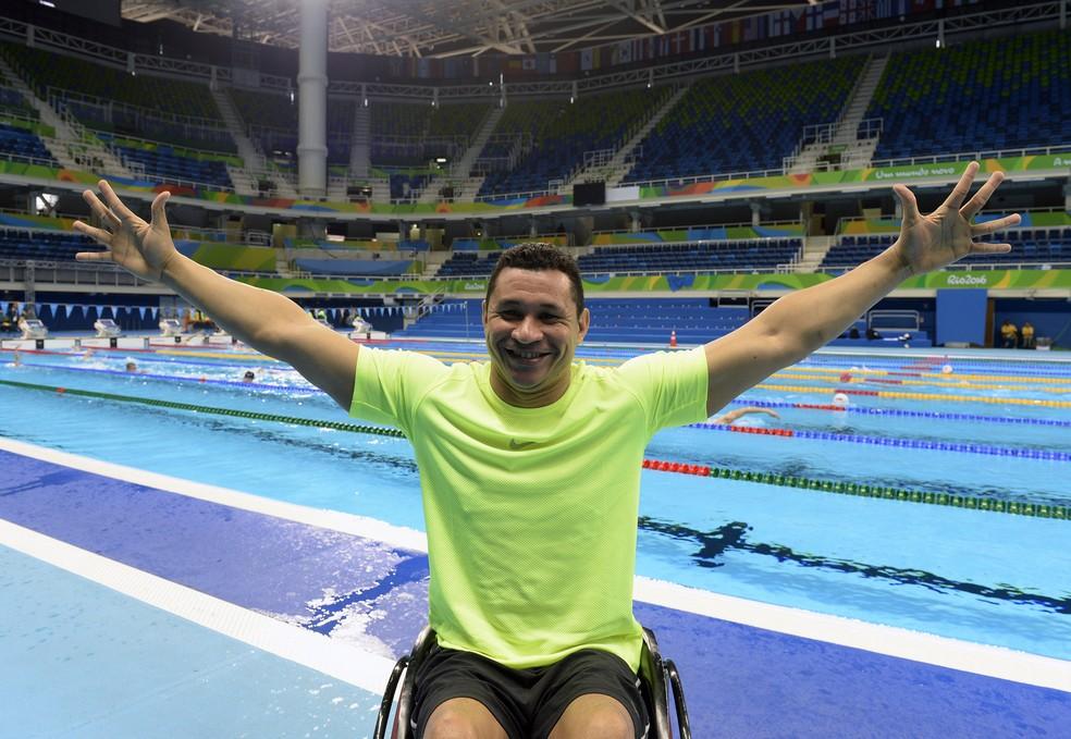 Clodoaldo Silva, no Estádio Aquático da Rio 2016, última competição antes da aposentadoria  — Foto: André Durão
