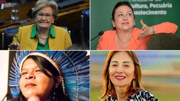 Assim como em 2014, foram registradas as candidaturas de 4 mulheres no cargo de vice-presidente: Ana Amélia, Katia Abreu, Sônia Guajajara e Suelene Balduino (em sentido horário); ao trocar de candidato, chapa PT-PCdoB coloca mais uma mulher como vice (Foto: Agência Brasil/facebook/via BBC News Brasil)