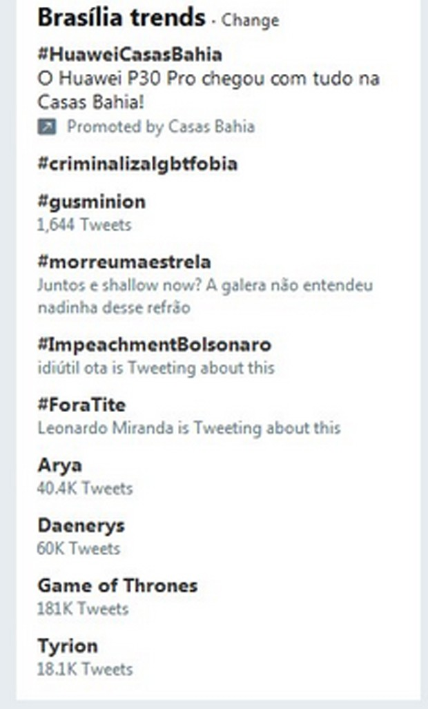 #Gusminion nos Trending Topics do Twitter de Brasília (Foto: Reprodução/Twitter)