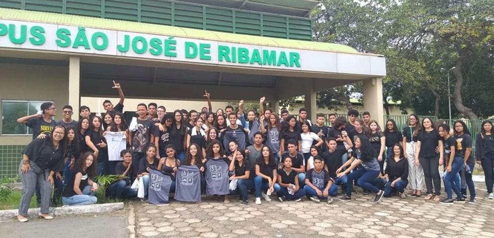 Estudantes em protesto no IFMA de São José de Ribamar — Foto: Reprodução/Redes Sociais