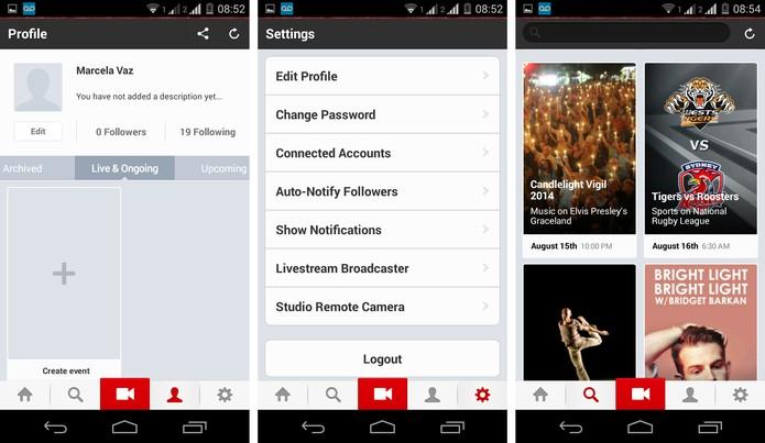O Livestream é uma rede social para transmissão ap vivo de eventos (Foto: Reprodução/ Marcela Vaz)