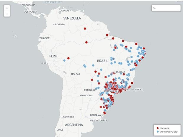 Agências fechadas pelo Banco do Brasil (Foto: Arte/G1)