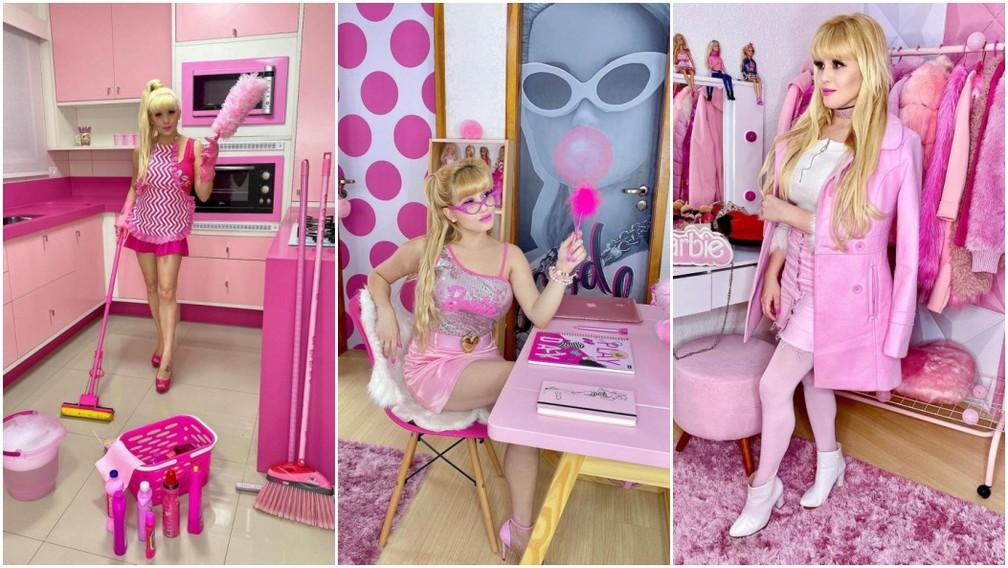 Bruna Carolina Peres afirma que 97% das roupas são cor-de-rosa — Foto: Arquivo pessoal/Bruna Barbie