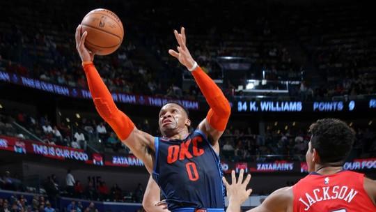 Russell Westbrook, do Oklahoma City Thunder, é o destaque da noite da NBA