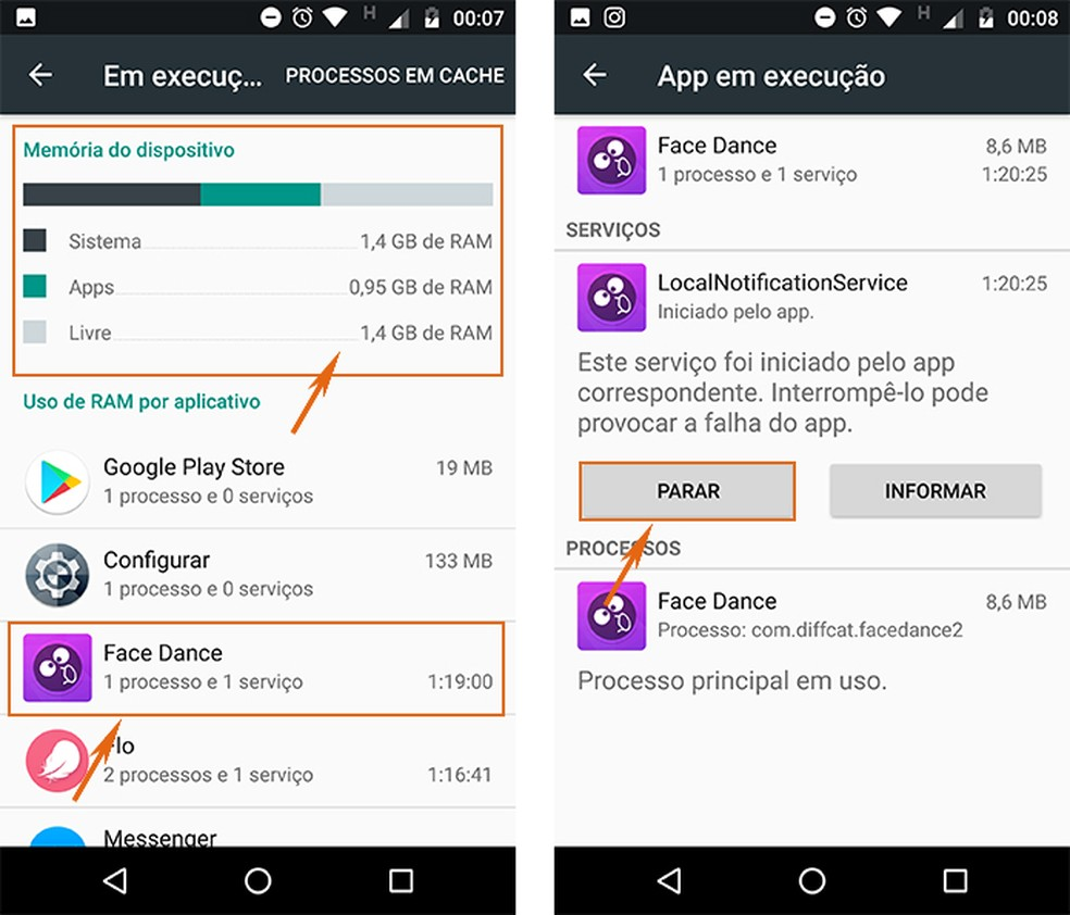 Pare o uso de memória RAM em tempo real pelo app no Android