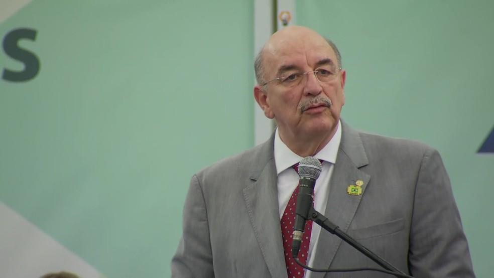 Ministro do Desenvolvimento Social, Osmar Terra, em evento no Rio (Foto: Reprodução / TV Globo)