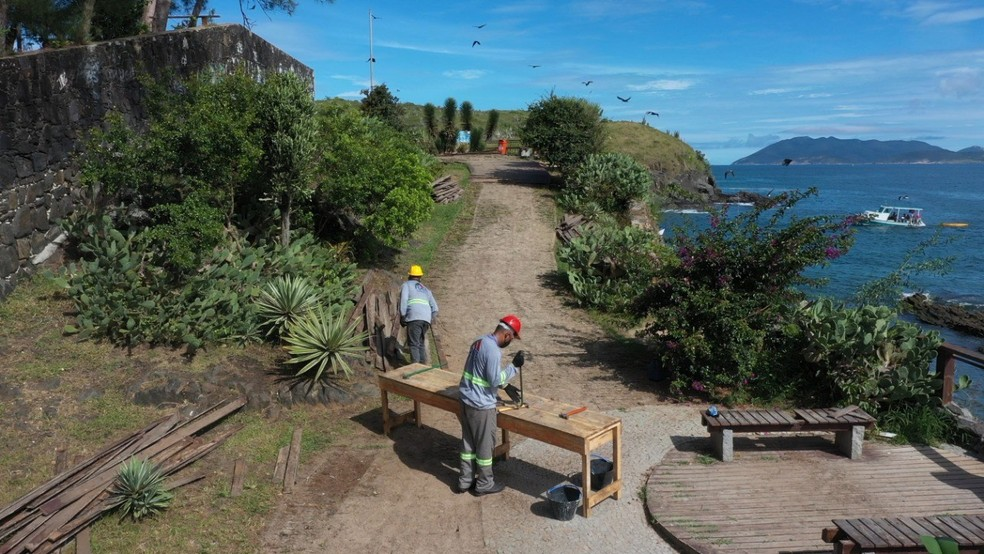 Obras no Canto do Forte, em Cabo Frio, RJ, começaram nesta semana — Foto: Divulgação/Prefeitura de Cabo Frio