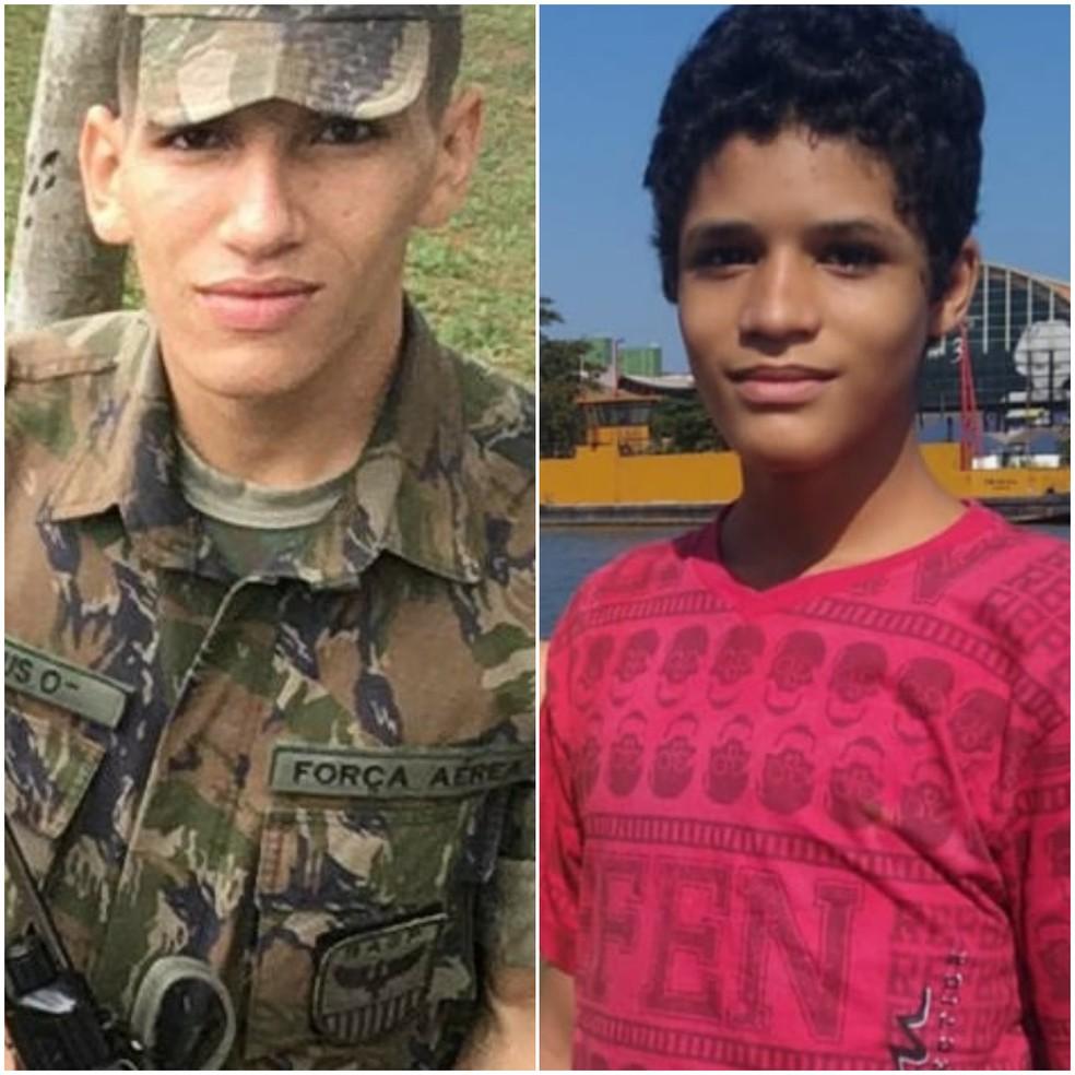 Soldado Mateus da Silva Santos, de 22 anos e Daniel Reis da Silva, de 12 anos, morreram afogados em Guarujá, SP — Foto: G1 Santos