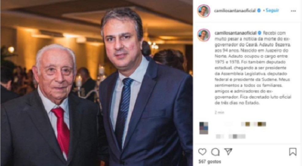Camilo Santana lamentou a morte do ex-governador Adauto Bezerra. — Foto: Reprodução/Arquivo Pessoal