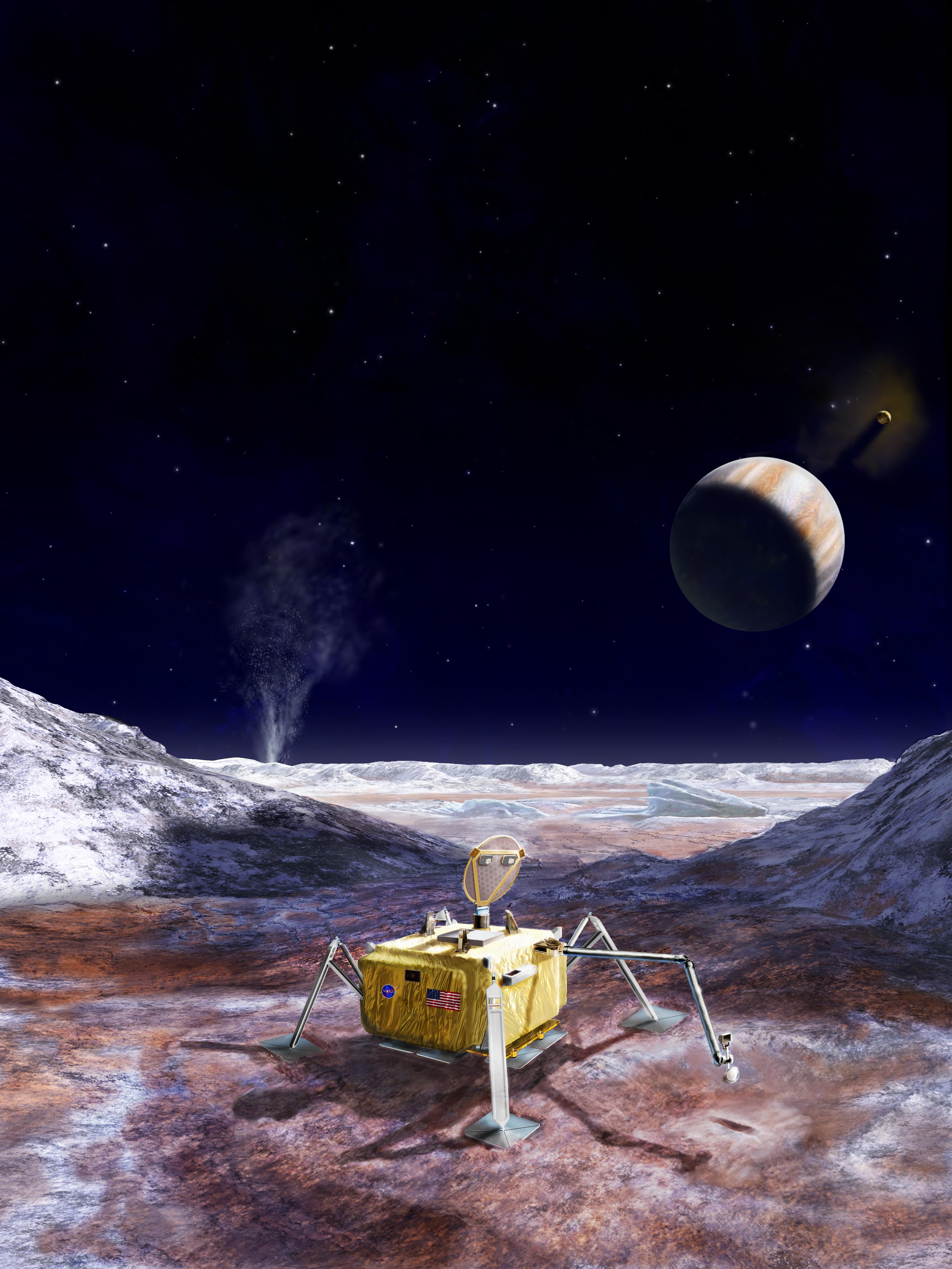Concepção artística do pouso de uma possível sonda na lua Europa (Foto: NASA)