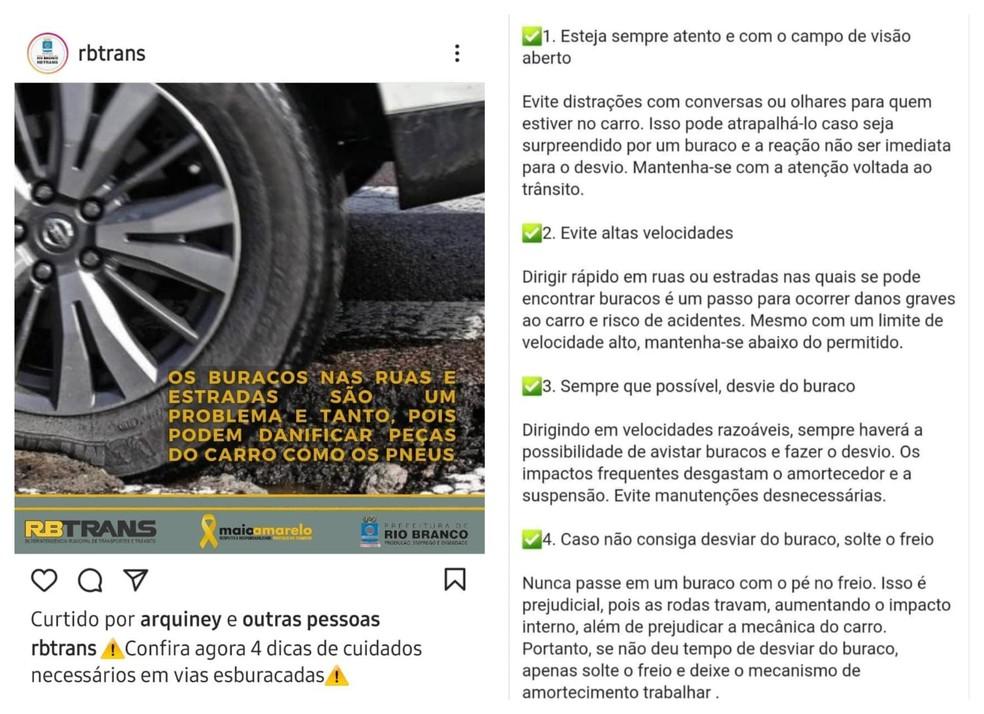 RBTrans lista dicas para dirigir em ruas esburacadas da capital e apaga postagem após repercussão na internet — Foto: Reprodução
