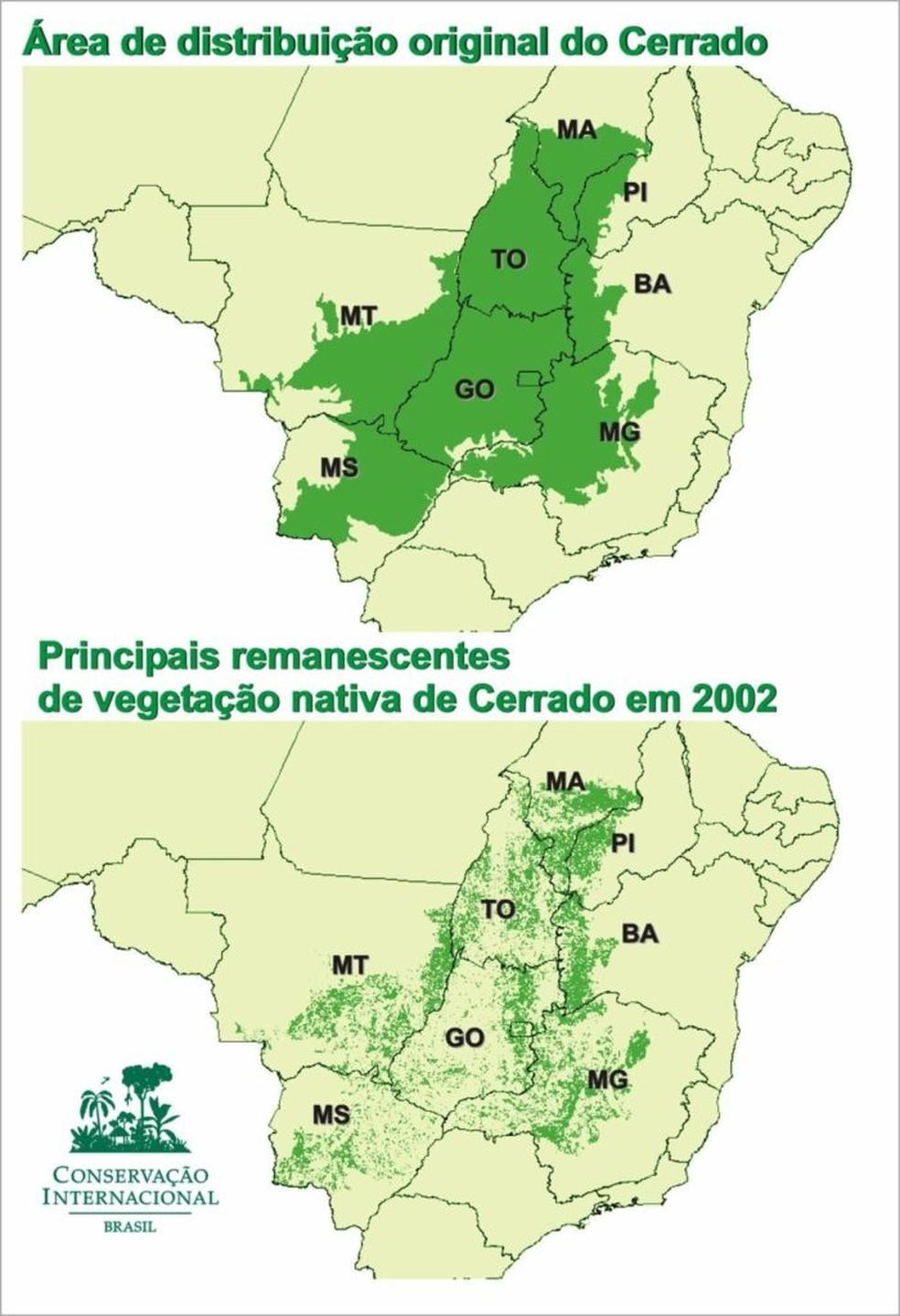 Mapa do desmatamento do Cerrado — Foto: ISPN/Reprodução