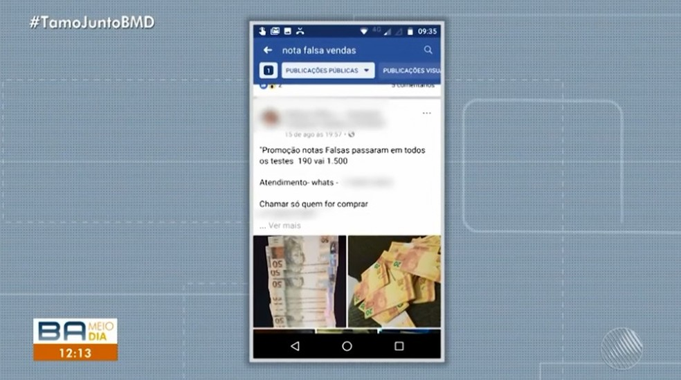 Em uma postagem em uma rede social,  falsário que comercializa cédulas afirma que as notas estão em promoção — Foto: TV Bahia